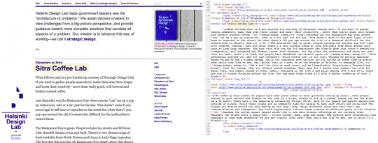 Left: our website. Right: a portion of the code you will see if you view source. I&#039;ve highlighted a bit of text in both so you can see how one connects to the other.