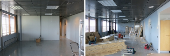 Left: the existing space. Right: after basic demolition. Renovation has begun.