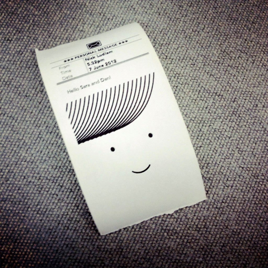 Little Printer&#039;s little print-out.