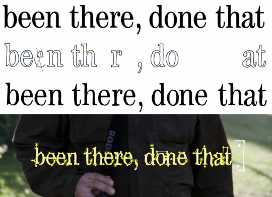 Some scraps from the production process for the Open Kitchen video, included for no other reason than they look nice. Starting from the top: digital text, hand traced text, cloned to fill out the words, and then being animated to write itself onto the screen.