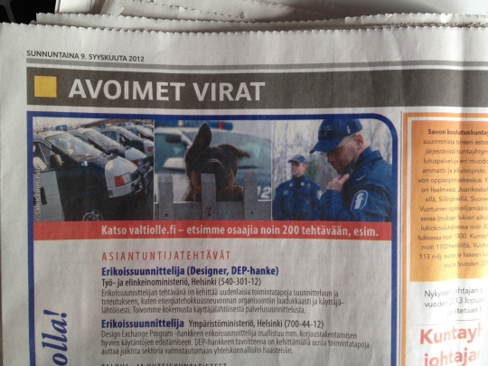 Our DEP positioned advertised in the Helsingin Sanomat... next to the police!