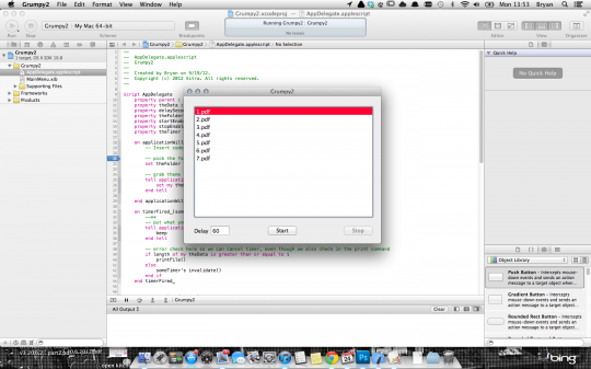 For a fun evening, teach yourself Applescript Objective-C. This will power our &quot;Grumpy Printer&quot;.