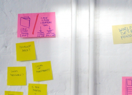 From an early strategy session. In the top left there you can see the idea of an annual case study book.