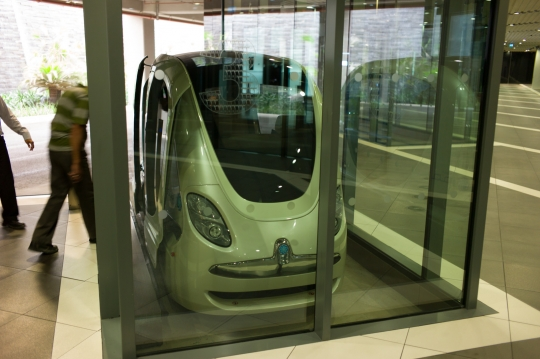 Driverless Personal Rapid Transport unit at Masdar City.