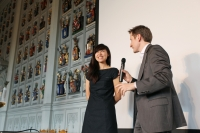 Helen Han introducing her film, Tending The Garden City. Photo: Pekka Mustonen