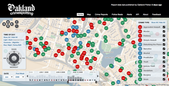 Stamen&#039;s Crimespotting: an interactive map of crimes in Oakland, California