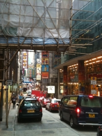 On the busy streets of Hong Kong