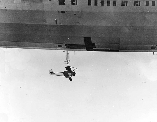 Training plane on USS Akron trapeze