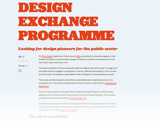 The &lt;a href=&quot;http://insidejob.fi&quot;&gt;Design Exchange Programme&lt;/a&gt; was announced in December and is now off to a promising start